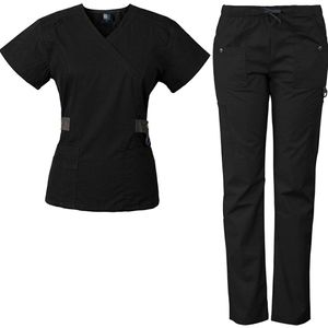2 pair black scrubs sets medgear